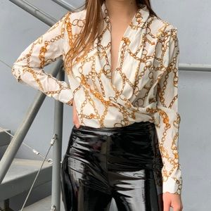 Tops - White & gold color blouse